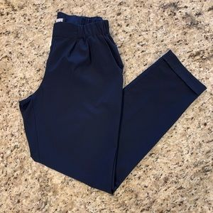 Navy Blue Cropped Lightweight Pleated Pants